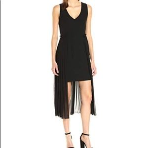 Rachel Roy pleated high-low v neck black dress